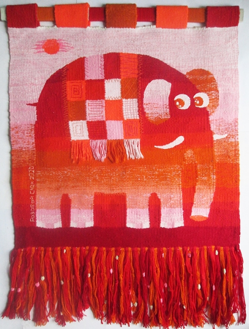 Pink elephant. Gobelin tapestries for kids room