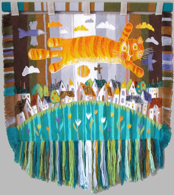 All cats can fly. Gobelin tapestries for kids room
