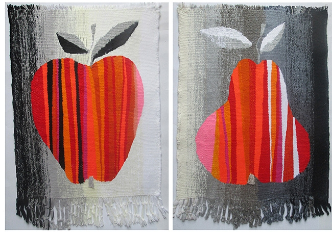 Diptych Apple and Pear. Gobelin tapestries for home or office