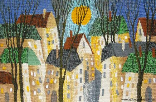 Evening city. Gobelin tapestries for home or office