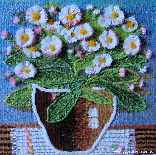 Flowers still life. Gobelin tapestries for home or office