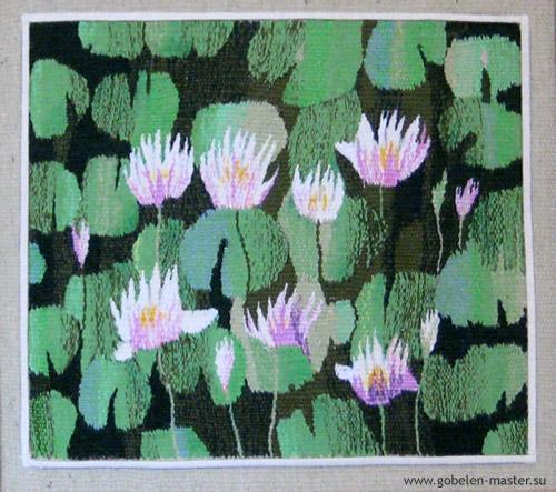 Water lillies still life. Gobelin tapestries for home or office